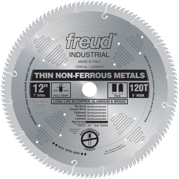 "LU90M012 Circular Saw Aluminium Saw Blade 12"" x 1"" Bore x 120 Tooth TCG"
