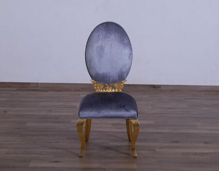 Luxor Collection Dining Chair  Hand Made & Hand Carved into Mahogany Wood Solid  in Charcoal Gray and Gold