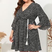 Plus All Over Print Tassel Tie A-line Dress