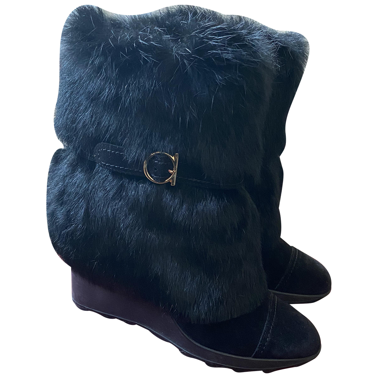 Salvatore Ferragamo N Black Rabbit Boots for Women 36.5 EU