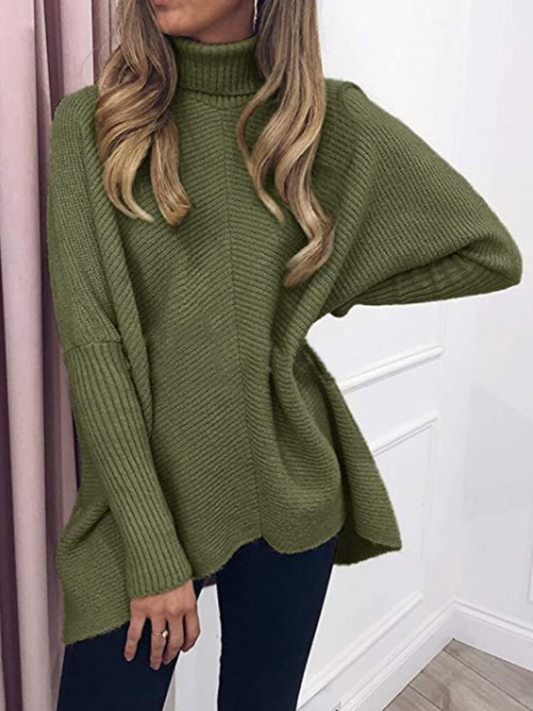 Solid Color High Neck Dolman Sleeve Sweater