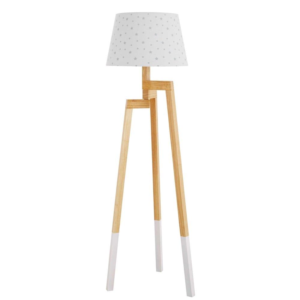 Stehlampe aus Kautschukholz und Lampenschirm mit Sternen-Motiv