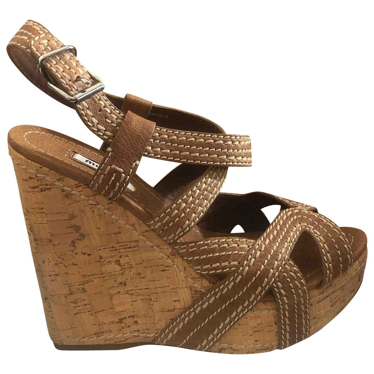 Miu Miu \N Camel Leather Sandals for Women 39 EU