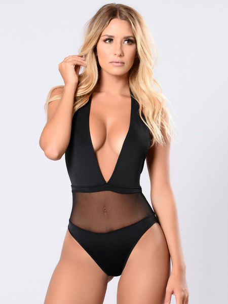Milanoo Women Sexy Swimsuit Black Halter Backless Semi Sheer One Piece Swimwear