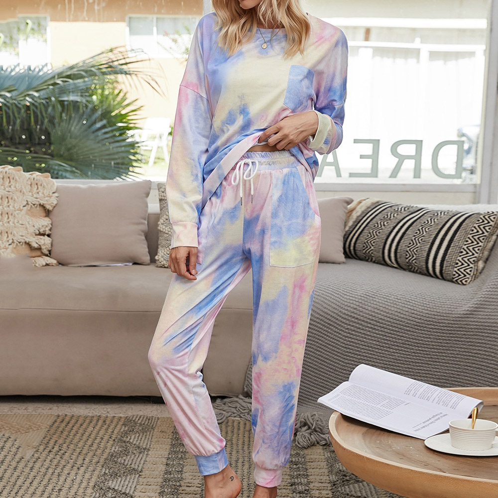 Fashion Purple Gradient Pocket Lace-Up Long Sleeve Women's Pajama Suit