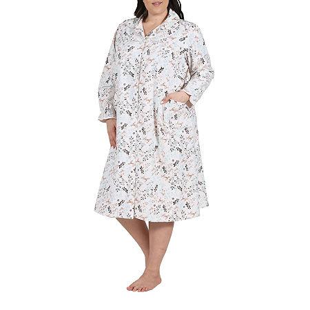 La Cera Womens Flannel Bed Jacket Long Sleeve, 2x , Beige