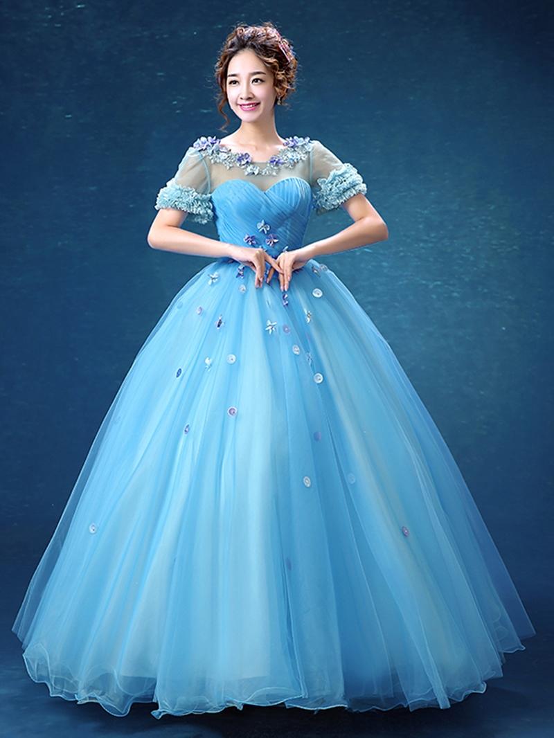 Ericdress Short Sleeves Scoop Ball Gown Pleats Quinceanera Dress