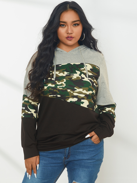 YOINS Plus Size Pullover Patchwork Camo Hooded Design Long Sleeves Sweatshirt