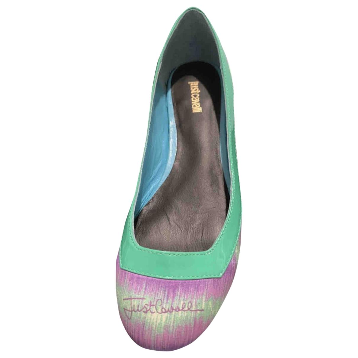 Just Cavalli - Ballerines   pour femme en cuir verni - turquoise
