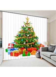 3D Tree and Gifts Printed Holiday Scenery Blackout Custom Christmas Curtain