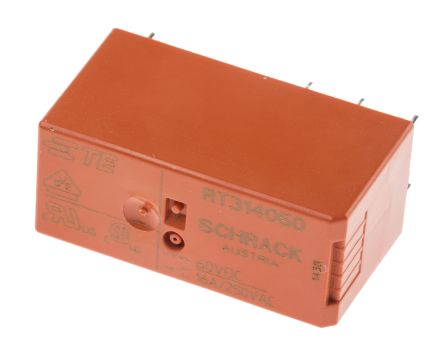 TE Connectivity , 60V dc Coil Non-Latching Relay SPDT, 16A Switching Current PCB Mount Single Pole