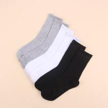 3pairs Plain Ribbed Socks