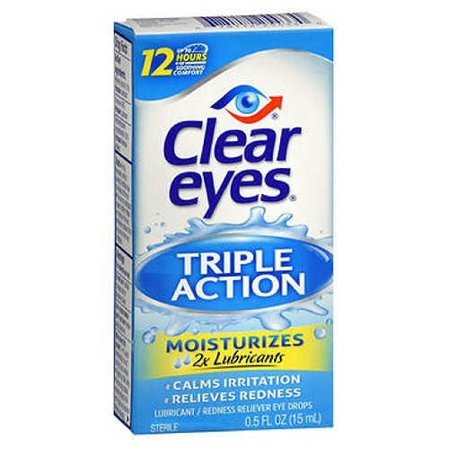 Clear Eyes Triple Action Relief Eye Drops 0.5 oz by Clear Eyes