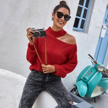 Asymmetrical Neck Cable Knit Sweater