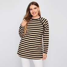 Plus Striped Button Detail Tee