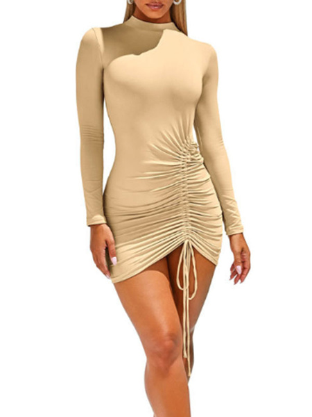 Milanoo Sexy Bodycon Dresses Drawstring Sexy Long Sleeves Stand Collar Pencil Dress