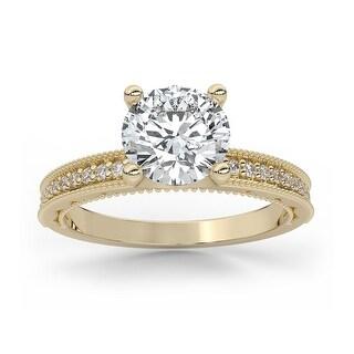 Vintage Milgrain Diamond Moissanite Round Cut Prong Engagement Ring (3 - Yellow)