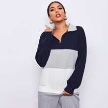Drop Shoulder Zipper Front Sweatshirt