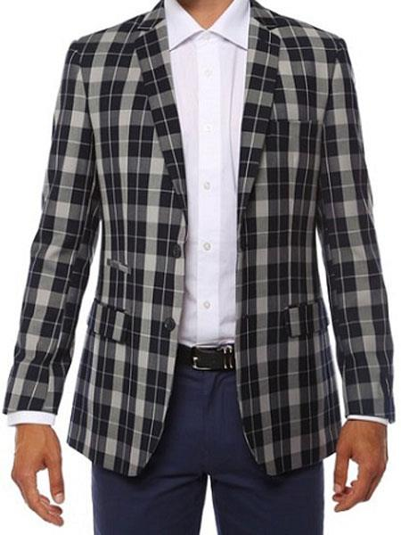 Ferrecci Mens Plaid Slim Fit Navy Blazer Dinner Jacket