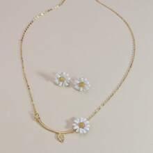3pcs Daisy Decor Jewelry Set