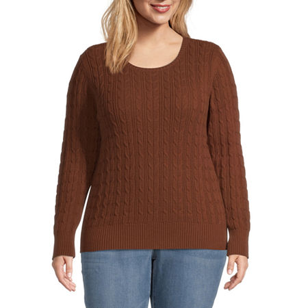 St. John's Bay-Plus Cable Womens Crew Neck Long Sleeve Pullover Sweater, 4x , Brown