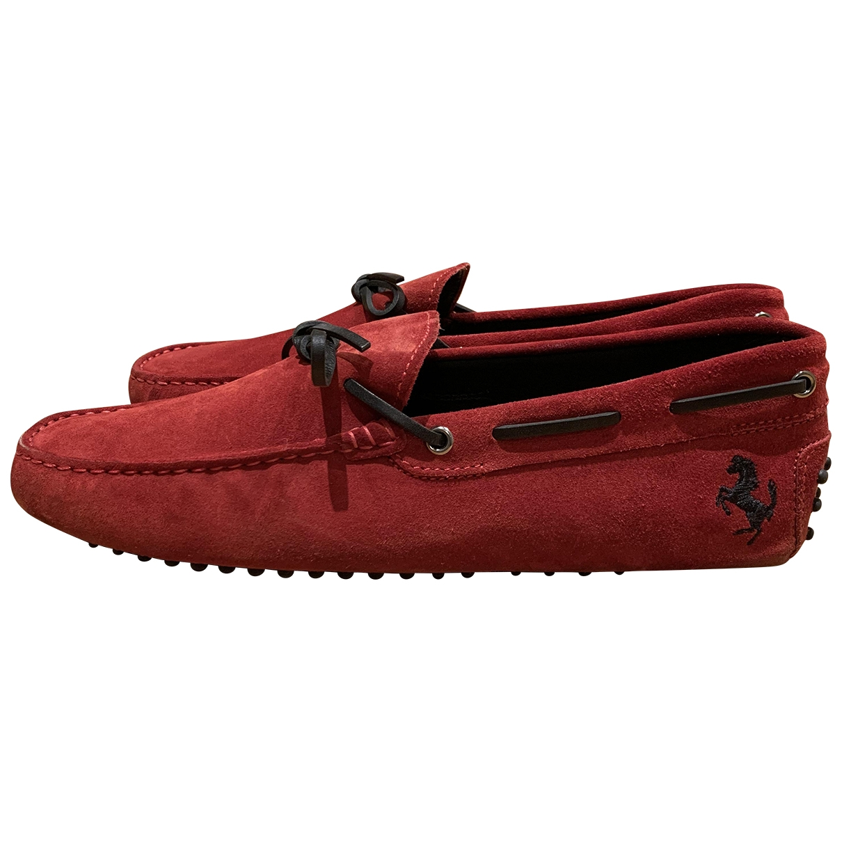 Tod's Gommino Red Suede Flats for Men 8 UK
