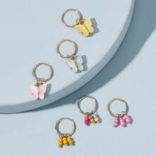 6 Stuecke Schmetterling & Bead Charm Ring Haarspange