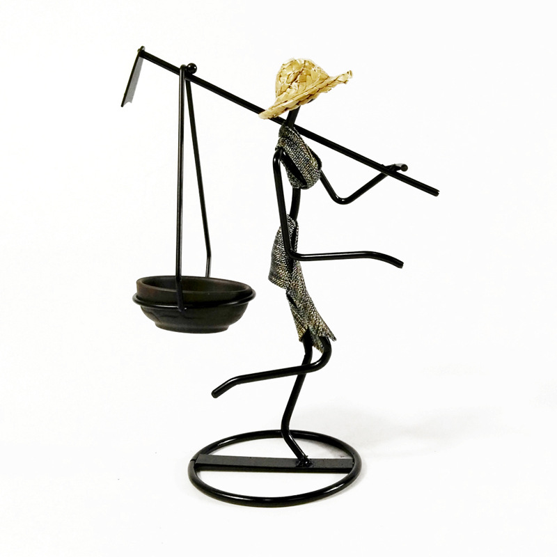 Creative Pastoral Iron Artist Candle Holder A Maiden With A Hoe In The Peasant Family Candlestick Furnishings For Home Decoration