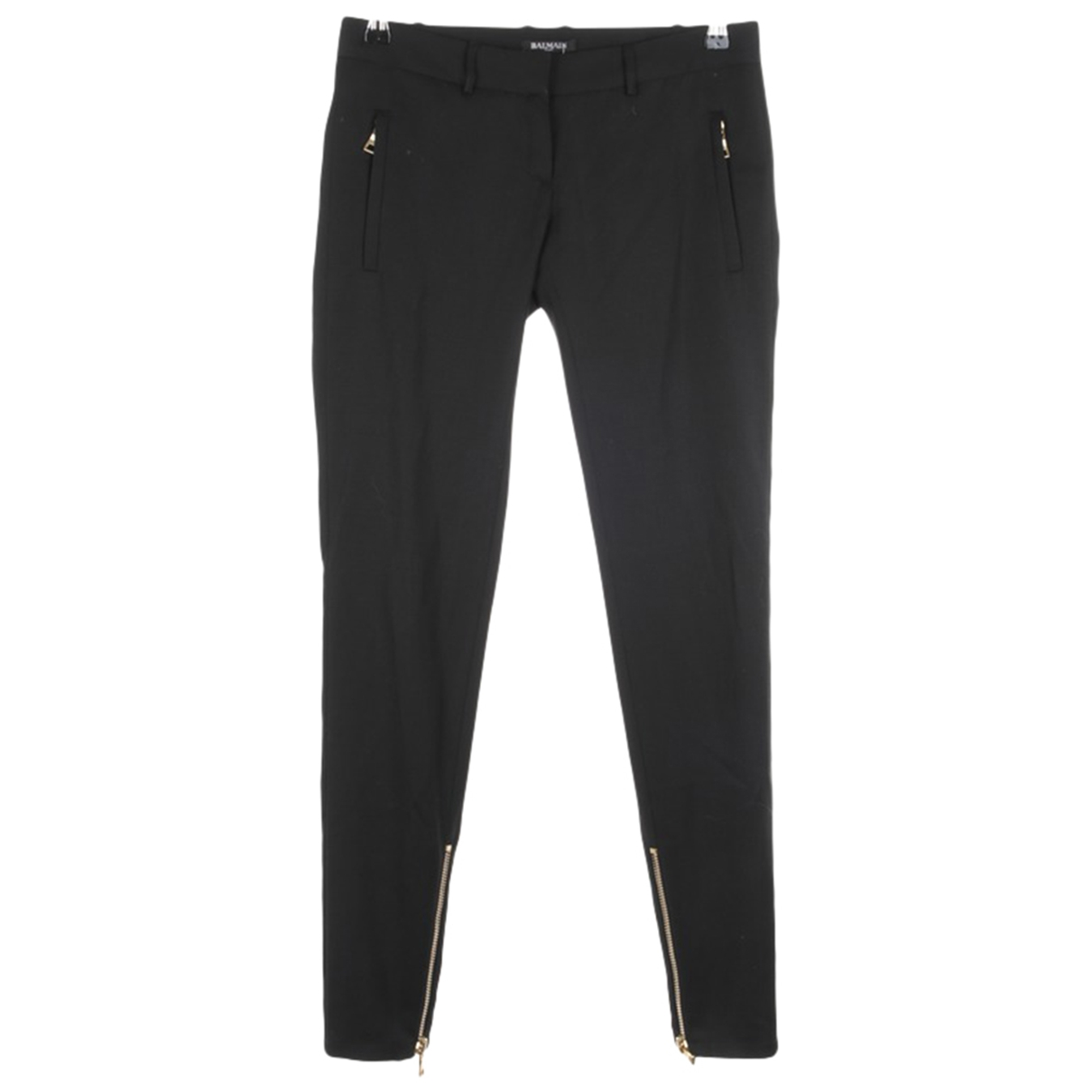 Balmain \N Black Wool Trousers for Women 34 FR