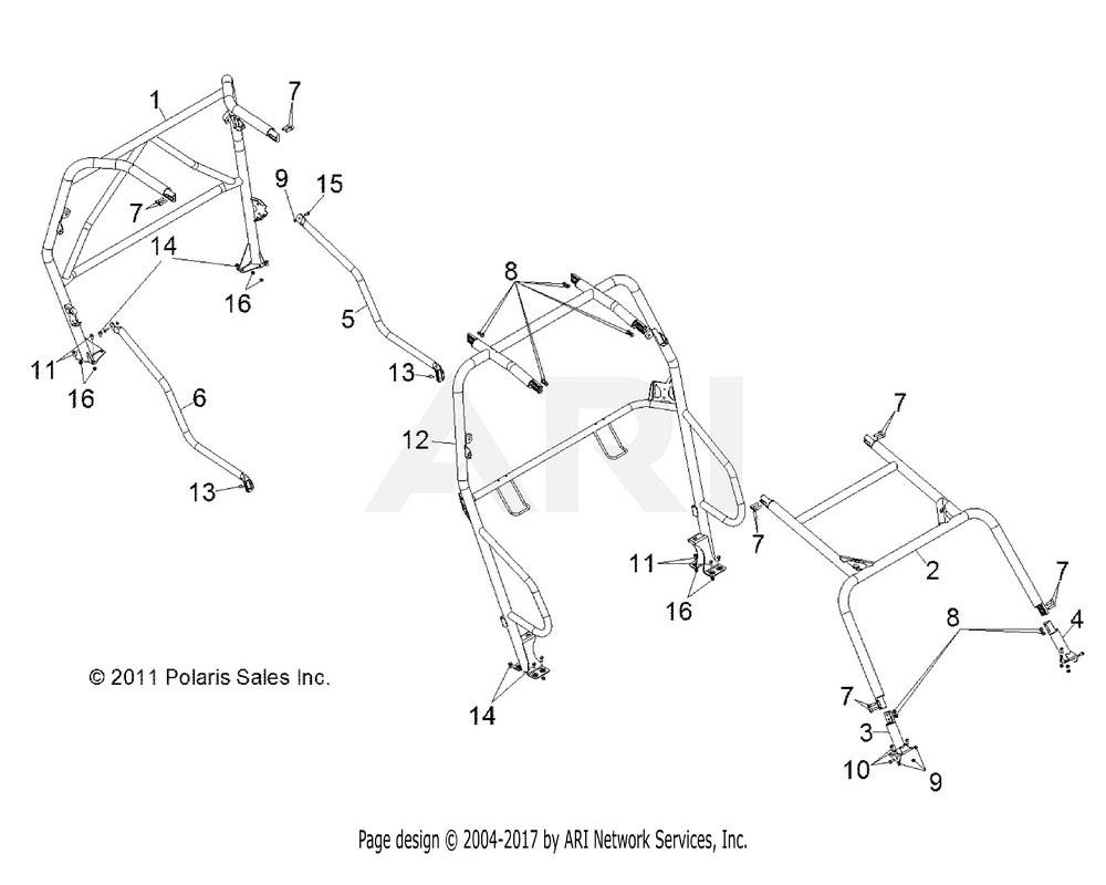 Polaris OEM 5336743-458 TUBE, CAB FRAME, SIDE, REAR, LH, MATTE BLACK