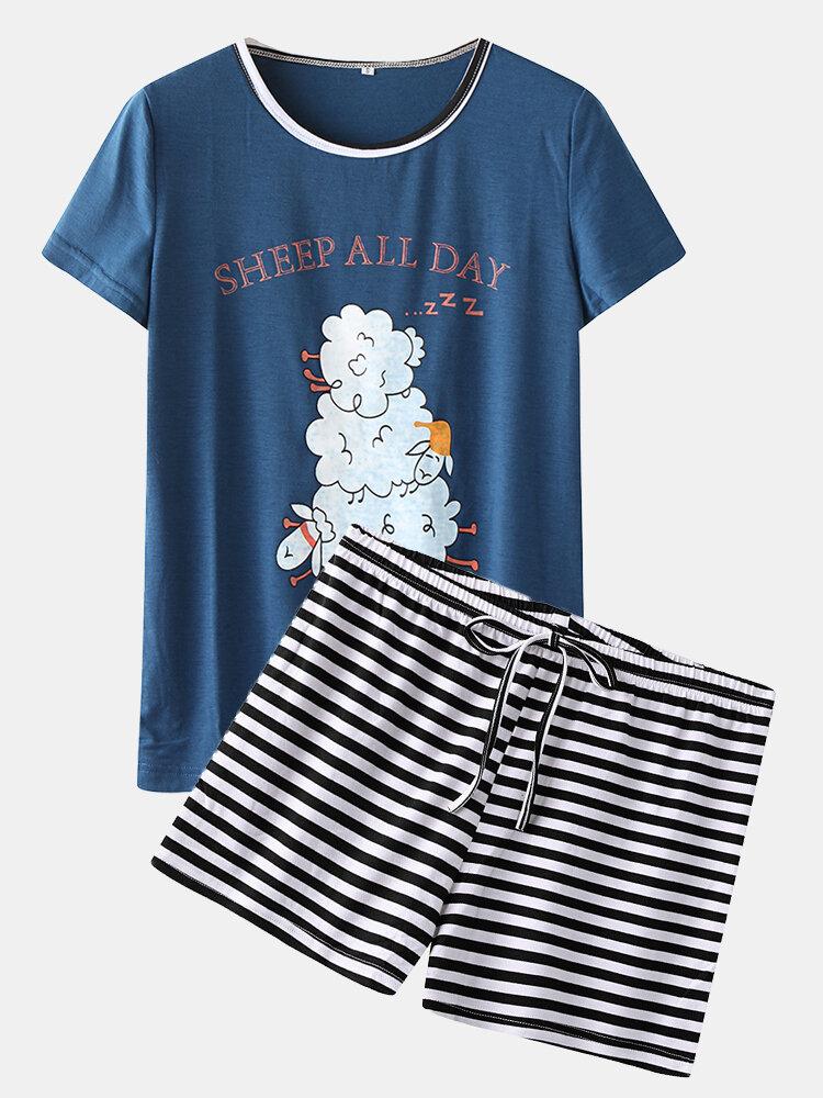 Women Pajamas Print Striped Short Sleeves Home Sleepwear Short Set For Summer