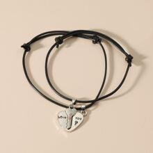 2 piezas pulsera con diseño de corazon