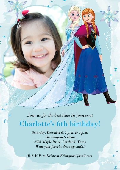 Kids Birthday Party Flat Glossy Photo Paper Cards with Envelopes, 5x7, Card & Stationery -Frozen Elsa & Anna