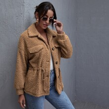 Flap Detail Drawstring Waist Teddy Coat