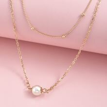 2pcs Faux Pearl Layered Necklace