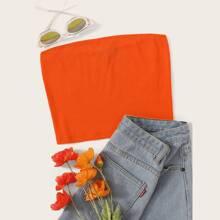 Neon Orange Crop Rib-knit Bandeau Top