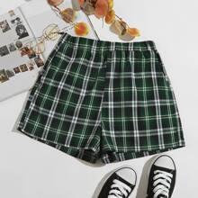 Plaid Elastic Waist Shorts