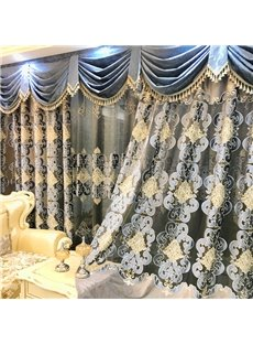 Thick Hand-made Embroidery European Drapes Grommet 2 Panels Curtains for Living Room
