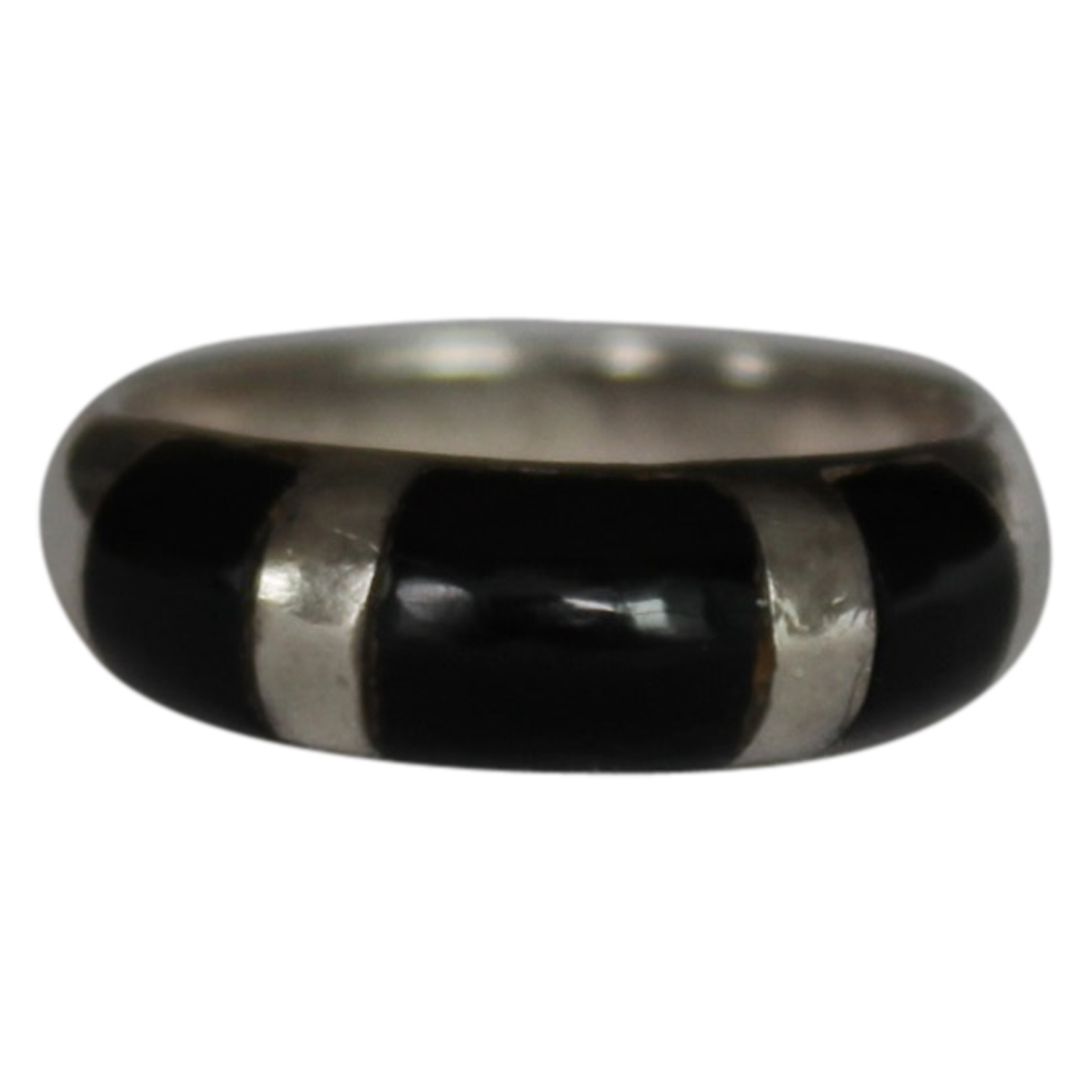 Non Signe / Unsigned Onyx Ring in  Schwarz Silber