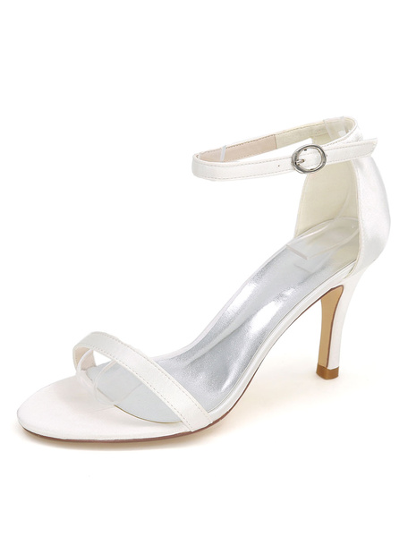 Milanoo White Wedding Shoes High Heel Sandals Ankle Strap Open Toe Bridal Shoes