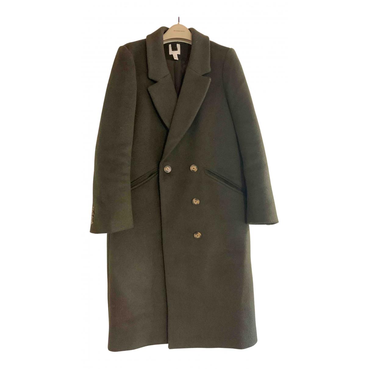 Non Signé / Unsigned Oversize Khaki Wool coat for Women 8 UK