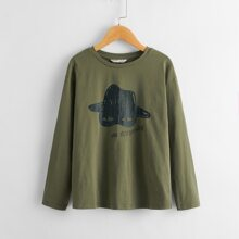 Boys Letter and Graphic Print Top