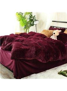 Antistatic Burgundy Red Super Soft Plush 4-Piece Fluffy Bedding Sets/Duvet Cover
