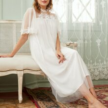 Floral Embroidered Flutter Sleeve Mesh Nightdress