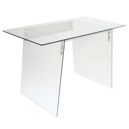 OFD-TM-GLACE Glacier Contemporary Desk in Clear and