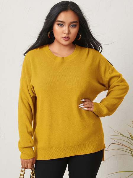 YOINS Plus Size V-neck Long Sleeves Sweater