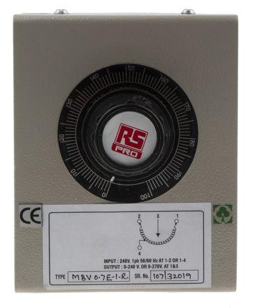 RS PRO 1 Phase 170VA Variac, 1 Output, 240V, 0.7A