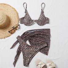 3 piezas bañador bikini con aro con falda de playa