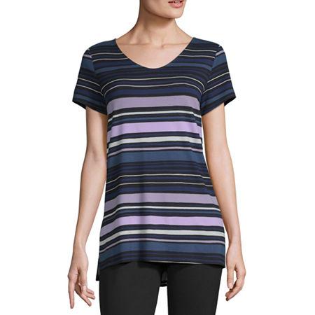 Liz Claiborne Studio-Womens V Neck Short Sleeve T-Shirt, Medium , Black