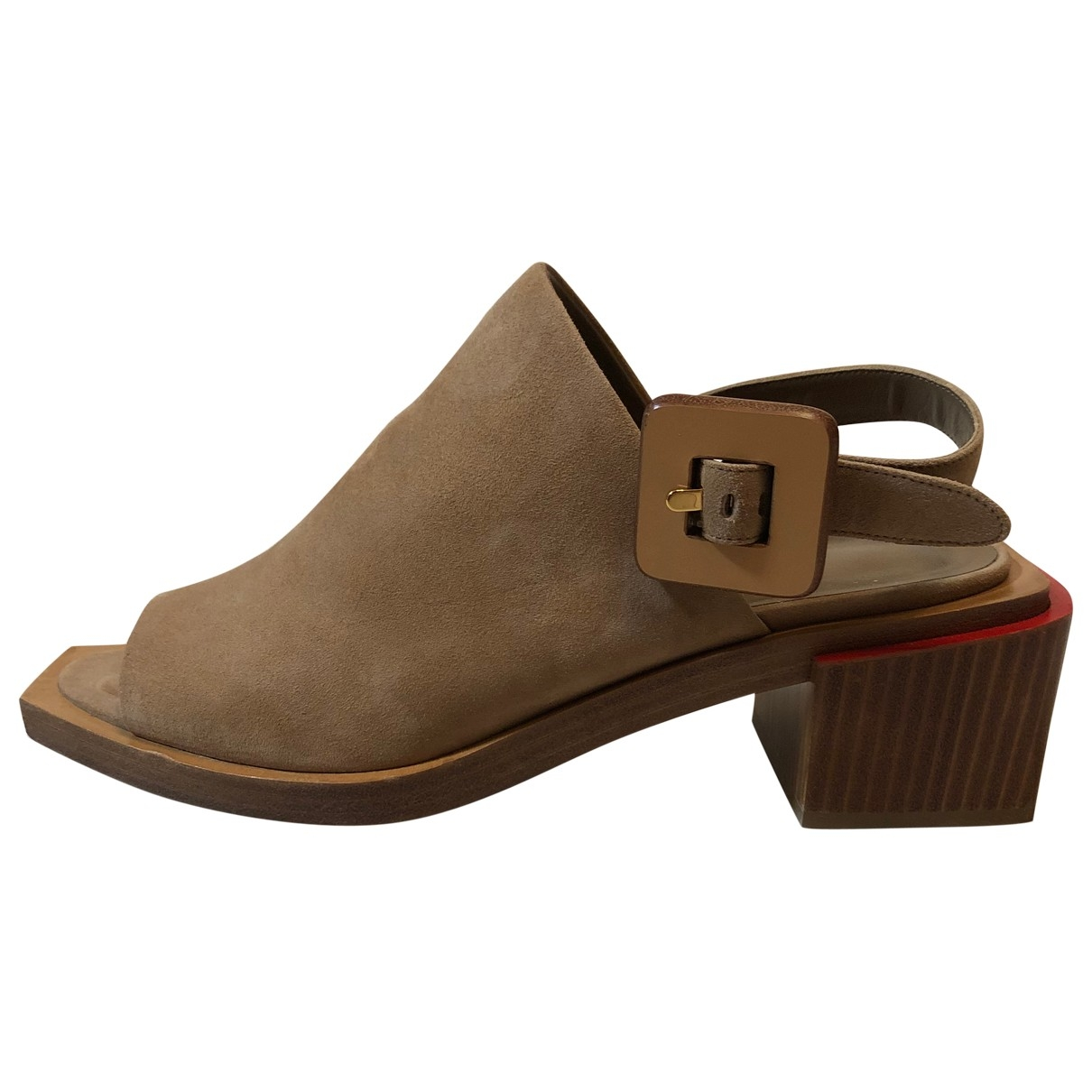 Hermes - Sandales   pour femme en suede - dore